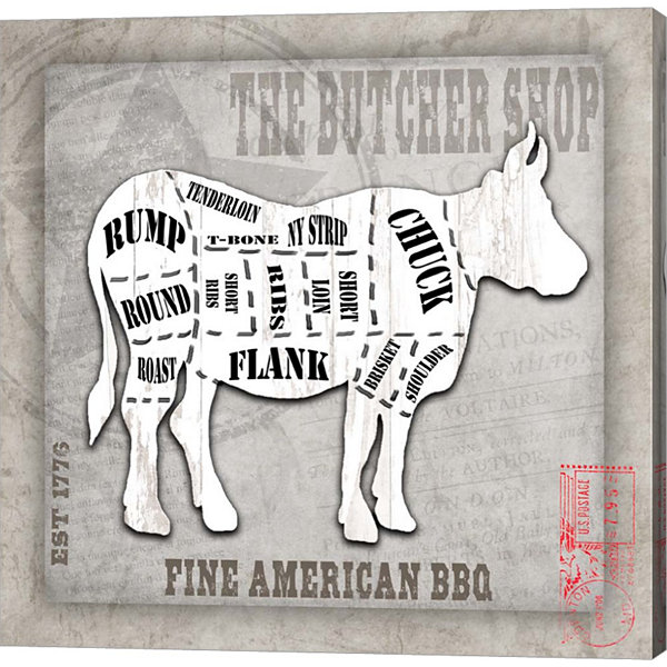 Metaverse Art American Butcher Shop Cow Canvas Wall Art