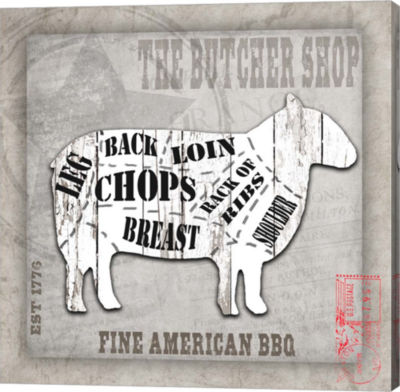 Metaverse Art American Butcher Shop Sheep Canvas Wall Art