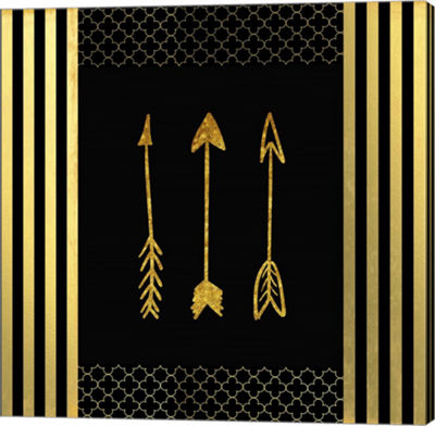 Metaverse Art Black & Gold - Feathered Fashion Arrow Canvas Wall Art