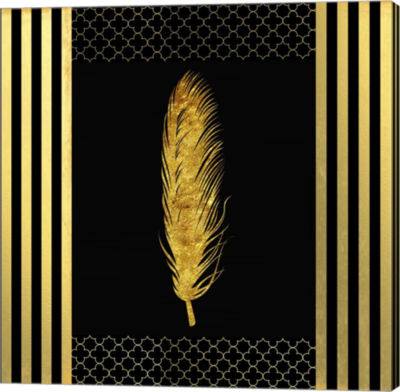 Metaverse Art Black & Gold - Feathered Fashion Canvas Wall Art