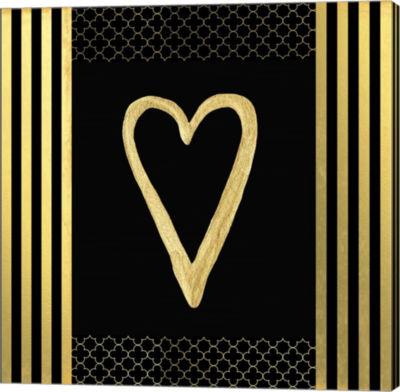 Metaverse Art Black & Gold - Feathered Fashion Heart Canvas Wall Art