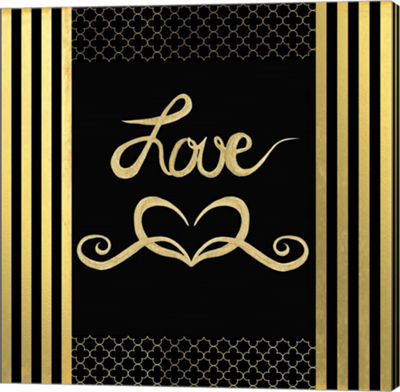 Metaverse Art Black & Gold - Feathered Fashion Love Canvas Wall Art