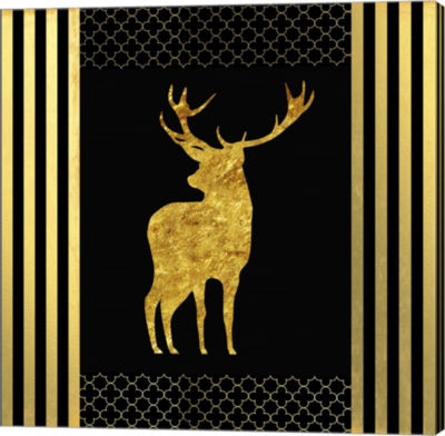 Metaverse Art Black & Gold - Feathered Fashion Stag Canvas Wall Art