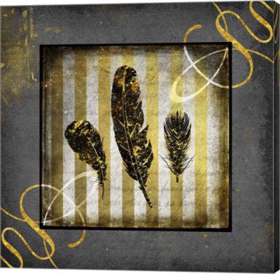Metaverse Art Black & Gold - Feathers Canvas WallArt