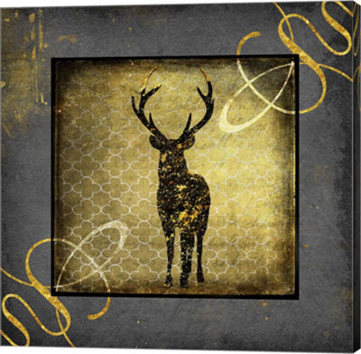 Metaverse Art Black & Gold - Stag Canvas Wall Art