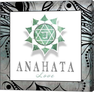 Metaverse Art Chakras Yoga Framed Anahata V3 Canvas Wall Art