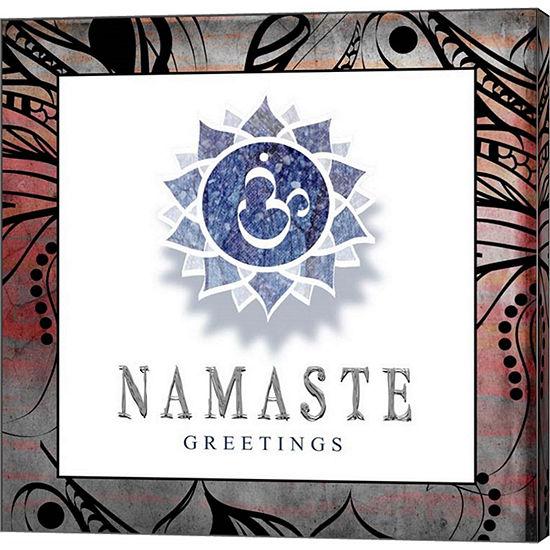 Metaverse Art Chakras Yoga Framed Namaste V2 Canvas Wall Art