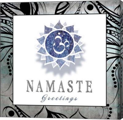 Metaverse Art Chakras Yoga Framed Namaste V3 Canvas Wall Art