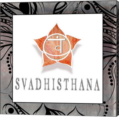 Metaverse Art Chakras Yoga Framed Svadhisthana V1Canvas Wall Art
