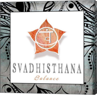 Metaverse Art Chakras Yoga Framed Svadhisthana V3Canvas Wall Art