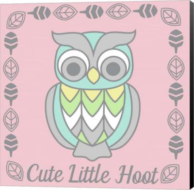 Metaverse Art Cute Little Hoot Girl Canvas Wall Art