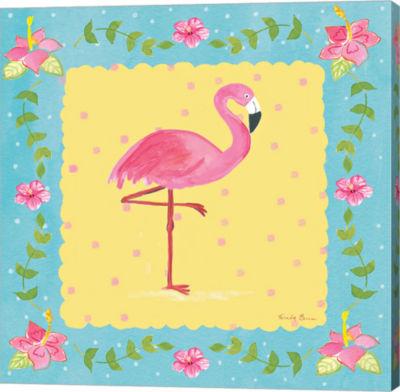Metaverse Art Flamingo Dance I Sq Border Canvas Wall Art