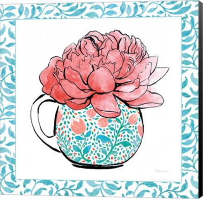 Metaverse Art Floral Teacup I Vine Border Canvas Wall Art