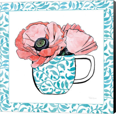 Metaverse Art Floral Teacup II Vine Border CanvasWall Art