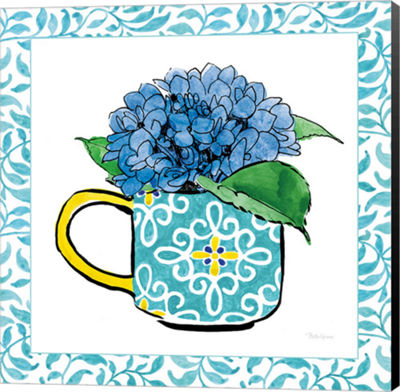 Metaverse Art Floral Teacup III Vine Border CanvasWall Art