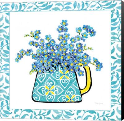Metaverse Art Floral Teacup IV Vine Border CanvasWall Art