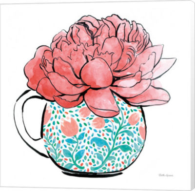 Metaverse Art Floral Teacups I Canvas Wall Art
