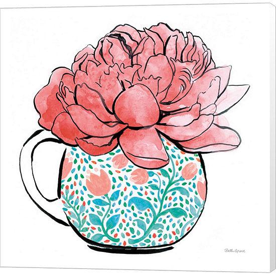 Metaverse Art Floral Teacups I Canvas Wall Art