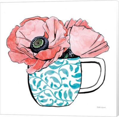 Metaverse Art Floral Teacups II Canvas Wall Art