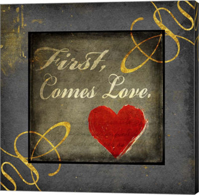 Metaverse Art Gold First Comes Love 1 Canvas WallArt