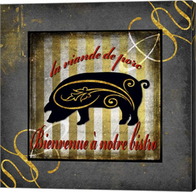 Metaverse Art Gold Welcome To Our Bistro Canvas Wall Art
