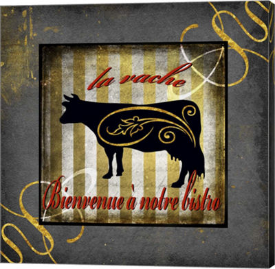 Metaverse Art Gold Welcome To Our Bistro Cow 1 Canvas Wall Art