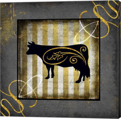 Metaverse Art Gold Welcome To Our Bistro Cow 2 Canvas Wall Art