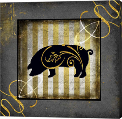 Metaverse Art Gold Welcome To Our Bistro Pig Canvas Wall Art