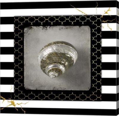 Metaverse Art Golden Sea With Stripes 3 Canvas Wall Art