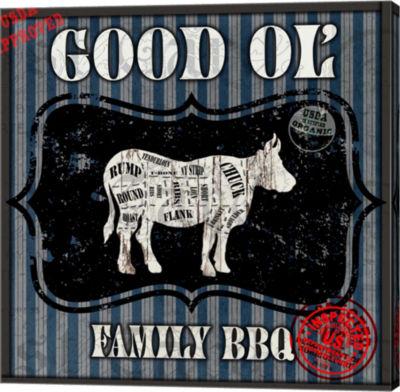Metaverse Art Good Ol' Family BBQ Square Cow Canvas Wall Art