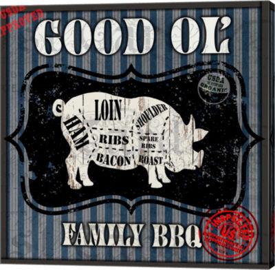 Metaverse Art Good Ol' Family BBQ Square Pig Canvas Wall Art