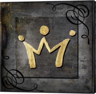 Metaverse Art Grunge Gold Crown Canvas Wall Art
