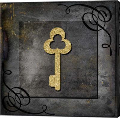 Metaverse Art Grunge Gold Crown Key Canvas Wall Art