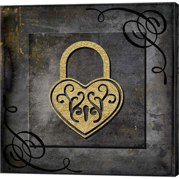 Metaverse Art Grunge Gold Crown Lock Canvas Wall Art