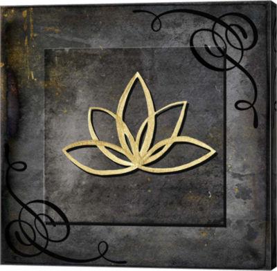 Metaverse Art Grunge Gold Crown Lotus Canvas WallArt