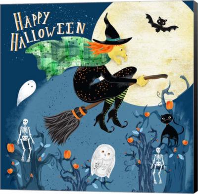 Metaverse Art Halloween Witch Canvas Wall Art