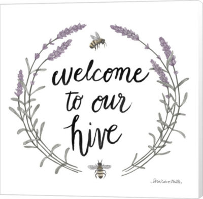 Metaverse Art Happy to Bee Home Words II Canvas Wall Art