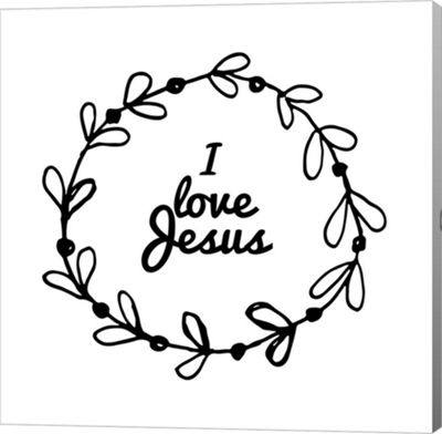 Metaverse Art I Love Jesus - Wreath Doodle White Canvas Wall Art