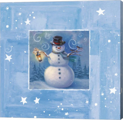 Metaverse Art Ice Box Snowman Canvas Wall Art