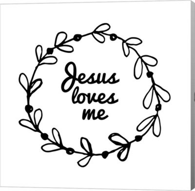 Metaverse Art Jesus Loves Me - Wreath Doodle WhiteCanvas Wall Art