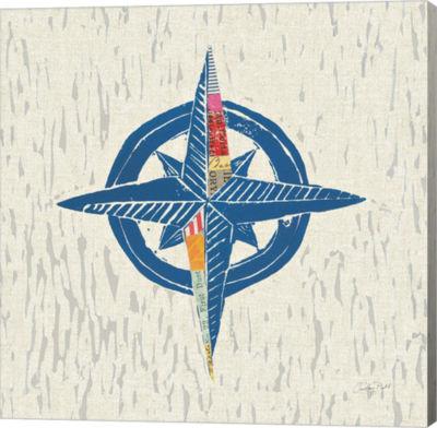 Metaverse Art Nautical Collage I on Linen Canvas Wall Art