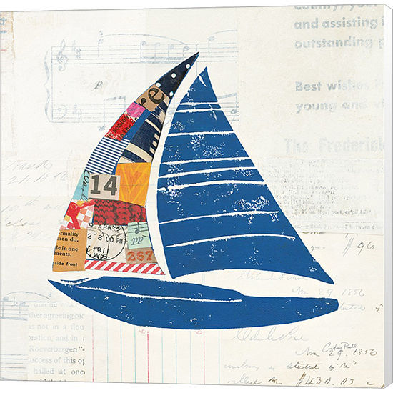 Metaverse Art Nautical Collage IV on Newsprint Canvas Wall Art
