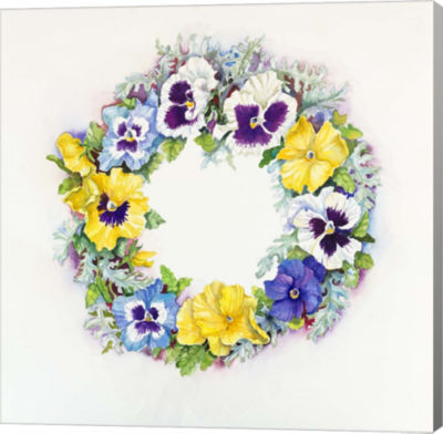 Metaverse Art Pansy Wreath Canvas Wall Art