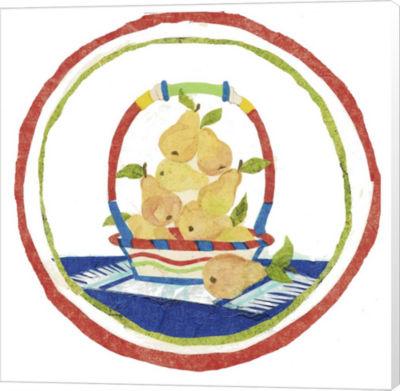 Metaverse Art Pear Basket Circular Collage CanvasWall Art