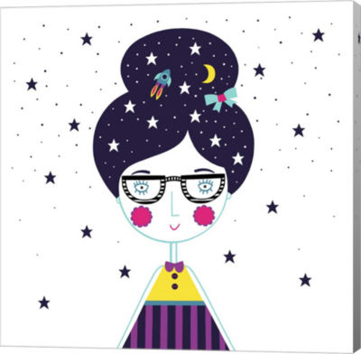 Metaverse Art Space Girl Canvas Wall Art