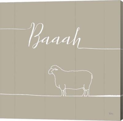 Metaverse Art Underlined Farm VI Greige Canvas Wall Art