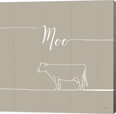 Metaverse Art Underlined Farm VII Greige Canvas Wall Art