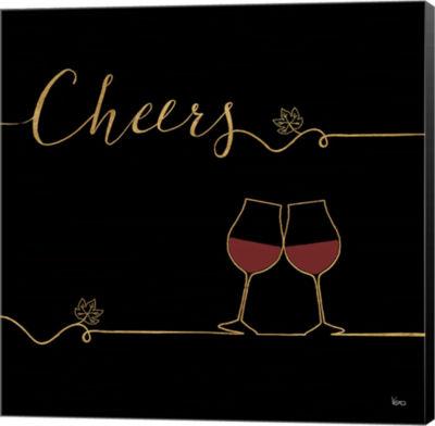 Metaverse Art Underlined Wine V Black Canvas WallArt