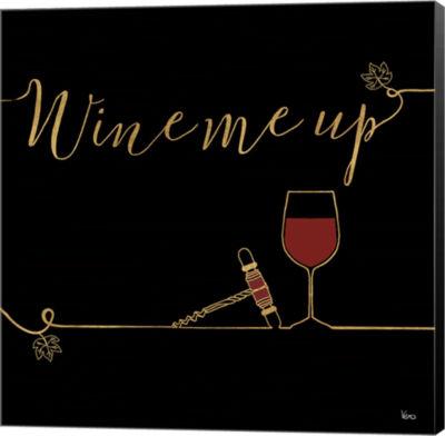 Metaverse Art Underlined Wine VII Black Canvas Wall Art