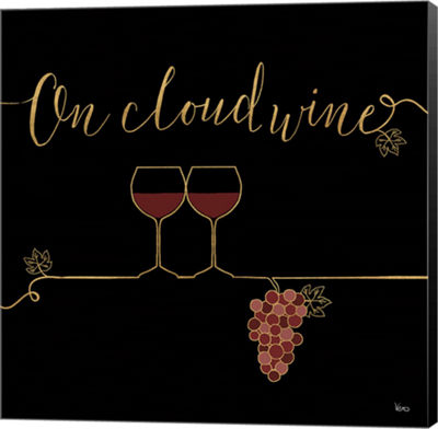 Metaverse Art Underlined Wine VIII Black Canvas Wall Art